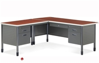 "Picture of 72"" L Shape Steel Office Desk Workstation, Filing Pedestals"