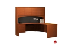 "Picture of 72"" Laminate L Shape Office Desk Workstation, Overhead Storage"
