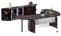 "Picture of Contemporary Veneer 72"" Desk with Filing Pedetal,Storage Credenza"