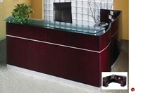 Picture of Contemporary Veneer L Shape Reception Desk Workstation,Glass Transaction Counter