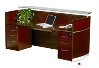 Picture of Contemporary Veneer Reception Desk Workstation,Glass Transaction Counter