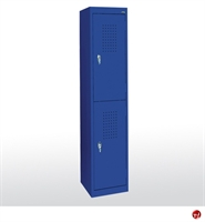 "Picture of Welded Steel 30"" Two Tier Compartment Storage Locker, 15"" x 18"" x 66"""