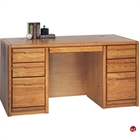 "Picture of 60""W Veneer Double Pedestal Office Computer Desk"