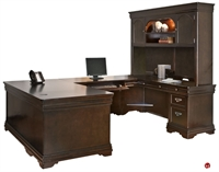 "Picture of 72"" U Shape Veneer Office Desk Workstation, Overhead Storage"