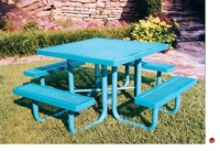 "Picture of Webcoat Regal T46, 46"" Square Metal Outdoor Picnic Bench Table"