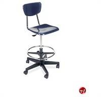 Picture of AILE Armless Poly Plastic Swivel Stool Chair, Footring