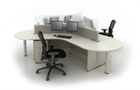 Picture of  Electrified Panel System, Cluster of 3 Cubicle Teaming Workstation