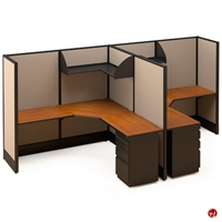 Picture of 2 Person L Shape Electrified Cubicle Desk Workstation