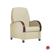 Picture of Healthcare Medical Mobile Recliner, Wood Armcaps