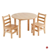 "Picture of Astor 30"" Round Kids Play Wood Table with 2 Chairs"