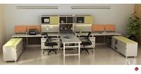 Picture of 2 Person U Shape Office Desk Steel Workstation, Overhead Storage