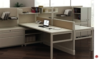 Picture of 2 Person L Shape Office Desk Steel Workstation