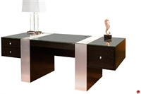 Picture of COX Contemporary Veneer Glass Top Executive Desk Table