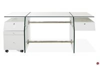 Picture of COX Contemporary White Glass Top Desk, Filing Cabinet