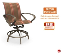 Picture of Homecrest Benton Aluminum Outdoor Swivel Rocker Barstool Sling Chair