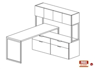 "Picture of 66"" Contemporary L Shape Office Desk Worktation with Closed Overhead Storage"