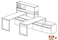 Picture of Cluster of 2 Person Veneer L Shape Office Desk Workstation