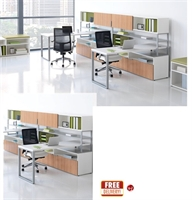 Picture of 2 Person L Shape Contemporary Bench Seating Teaming Desk Workstation