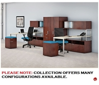 Picture of 2 Person L Shape Contemporary Office Desk Workstation with Wardrobe Storage