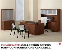"Picture of 72"" Bowfront Executive Office Desk Workstation with Glass Door Kneespace Credenza and Bookcase Lateral Storage"