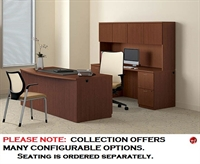 "Picture of 72"" Bowfront Executive Office Desk Workstation with Kneespace Credenza and Overhead Storage"