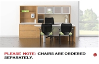 """Picture of 72"""" U Shape D Top Office Desk Workstation with Glass Door Overhead, Bookcase Lateral Storage"""