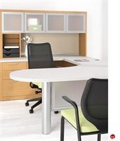 "Picture of 72"" U Shape D Top Office Desk Workstation with Glass Door Overhead"