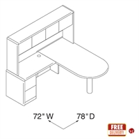"""Picture of 72"""" L Shape P Top Office Desk Workstation with Overhead Storage"""
