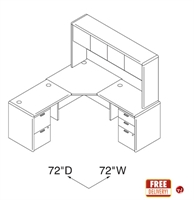 """Picture of 72"""" L Shape Office Desk Workstation with Closed Overhead Storage"""