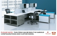 Picture of 4 Person L Shape Cubicle Desk Electrified Workstation with Steel Storage
