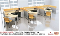 Picture of 3 Person L Shape Cubicle Desk Electrified Teaming Workstation