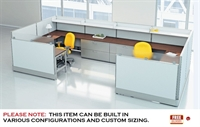 Picture of 2 Person U Shape Electrified Teaming Cubicle Desk Workstation