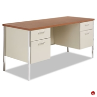 "Picture of 24"" x 60"" Double Pedestal Steel School Desk Workstation"