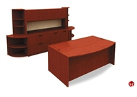 "Picture of 72"" Bowfront Desk with Storage Credenza Closed Overhead and Corner Bookcases"