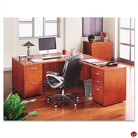 "Picture of 72"" L Shape Veneer Office Desk Workstation with 2 Drawer Lateral File"
