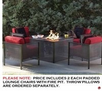 Picture of GRID Outdoor Wrought Iron Padded Lounge Dining Chairs with Fire Pit, Pack of 4