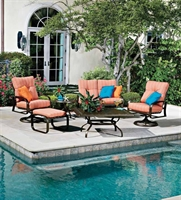 Picture of GRID Outdoor Aluminum Thick Cushion 2 Seat Loveseat Glider with Swivel Rocking Chairs and Ottoman