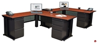 Picture of Marino 2 Person L Shape Office Desk Workstation with Closed Overhead