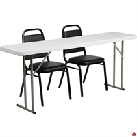 "Picture of Brato 18"" x 72"" Resin Folding Table with 2 Cafe Dining Stack Chairs"