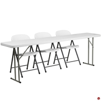 "Picture of Brato 18"" x 96"" Resin Folding Table with 3 Resin Folding Chairs"