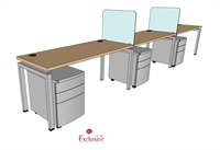 "Picture of PEBLO 3 Person 24"" x 60"" Bench Seating Office Desk Workstation"