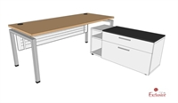 "Picture of PEBLO 30"" x 72"" L Shape Modular Steel Office Desk Workstation"