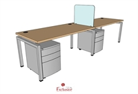 "Picture of PEBLO 2 Person 30"" x 60"" Bench Seating Office Desk Workstation"