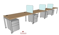 "Picture of PEBLO 4 Person 30"" x 60"" Bench Seating Office Desk Workstation"