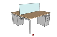 "Picture of PEBLO 2 Person 30"" x 60"" Teaming Bench Seating Office Desk Workstation"