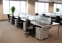 Picture of Cluster of 8 Person Bench Seating Teaming Workstation with Filing Cabinets and Power Management