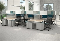 Picture of Cluster of 8 Person L Shape Bench Seating Teaming Cubicle Workstation with Filing Storage and Power Management