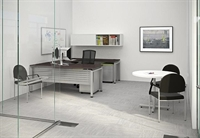 Picture of Metal U Shape Office Desk Workstation with Filing and Overhead Storage Hutch