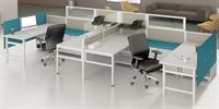Picture of PEBLO Cluster of 2 Person, Contemporary U Shape Cubicle Office Desk Workstation with Filing and Glass Header