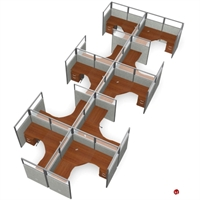 Picture of 10 Person L Shape Office Desk Cubicle Cluster Workstation